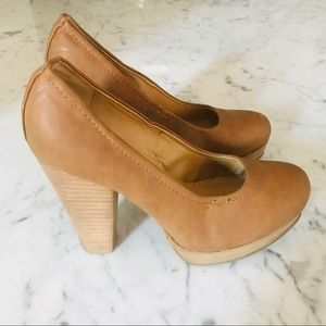 Leather Tan Pumps Size 36